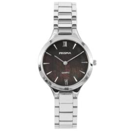 Modern Zilverkleurig Dames Horloge van Prisma met Parelmoer
