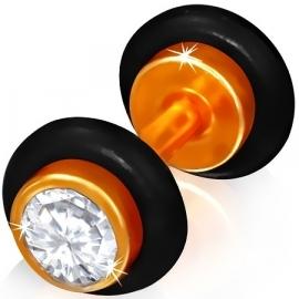 Oranje imitatie piercing oorbel