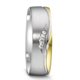 Matte Zilveren Dames Trouwring met Gepolijste 9 Karaat Rand en Diamanten