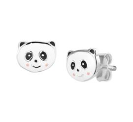 Zilveren Panda Oorknoppen voor Kids