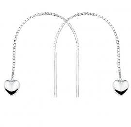 Zilveren Doortrekoorbellen met Hart Hangers en Staafjes