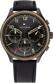 Tommy Hilfiger Zwart Heren Horloge met Zwart Leer