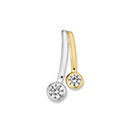 Excellent Jewelry Bicolor Hanger met Twee Zirkonia's