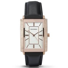 Roségoudkleurig Rechthoekig Heren Horloge met Zwart Leder