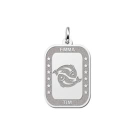 Rechthoekige Vissen Sterrenbeeld Hanger van Zilver