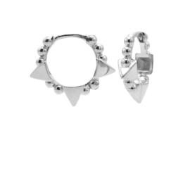 Zilveren Oorringen met Bolletjes & Driehoek | Karma Jewelry