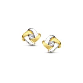 Excellent Jewelry Bicolor Gedraaide Oorstekers met Zirkonia