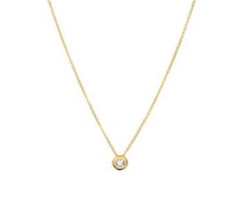 Gouden Dames Collier met Kleurloze Zirkonia Hanger