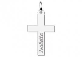 Names4ever Eerste Communie Zilveren Kruishanger met Naam