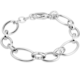 Zilveren Draadschakel Armband met Rhodium
