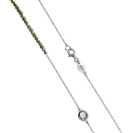 Zilverkleurige Schakel Ketting met Donkergroene Steentjes en Zirkonia's