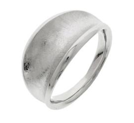 Gerhodineerd Zilveren Ring met Hol Gescratcht Oppervlak