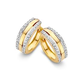 Excellent Jewelry Geelgouden Creolen met Zirkonia Rijen