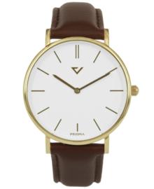 Opvallend Goudkleurig Horloge met Bruin Lederen Horlogeband