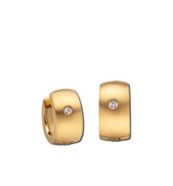 Goudkleurige Bolstaande Klapcreolen met Zirkonia van M&M