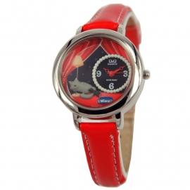 Q&Q Horloge voor meisjes / Rood Lederen Band