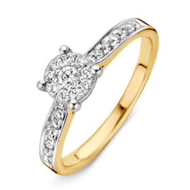 Excellent Jewelry Geelgouden Ring met Witgouden Voorzijde met Briljanten
