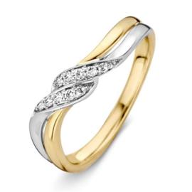 Excellent Jewelry Bicolor Ring met briljant 0,08 crt.