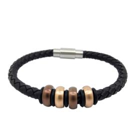 XS4M DISX Donkerbruin Leren Armband met Bedels