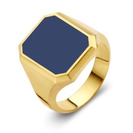 Excellent Jewelry Gouden Zegelring met Achthoekige Massieve Lagensteen