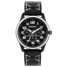 Zwart Kids Horloge met Zwart Lederen Horlogeband met Wit Stiksel