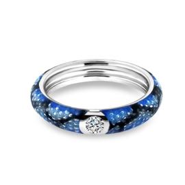 Zilveren Ring met Blauwe Emaille met Zirkonia van MY iMenso