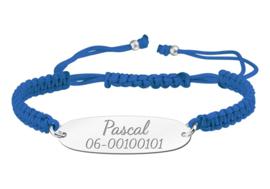 Blauwe Koordarmband met Naam/Nummer