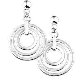 Driedubbele Cirkel Oorhangers van Gerhodineerd Zilver