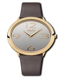 Goudkleurig Ovaltime Dames Horloge met Donkerbruine band van M&M