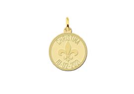 Names4ever Ronde Gouden Graveerhanger met Fleur de Lille GMNH017