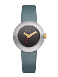 Zilverkleurig M&M Dames Horloge met Blauw Lederen Horlogeband