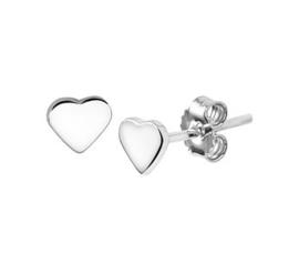 Kleine Hartvormige Oorknoppen van Gerhodineerd Zilver