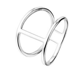 Gepolijst Zilveren Dubbele Ring