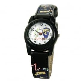 Q&Q Horloge Kids met Zwart Lederen Band