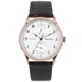 Roségoudkleurig Edelstalen Heren Horloge met Bruine Horlogeband