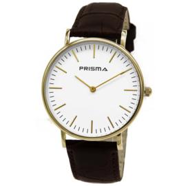 Prisma Goudkleurig Unisex Horloge met Witte Wijzerplaat