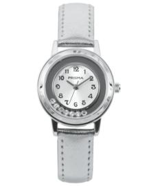 Dazzling Diamonds Wit Kids Horloge met Zilverkleurige Horlogeband