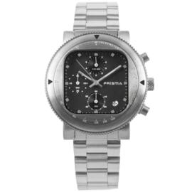 Rond Prisma Heren Horloge met Vierkante Zwarte Wijzerplaat
