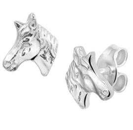 Gedetailleerde Paardenhoofd Oorknoppen van Zilver