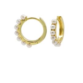 Goudkleurige Oorringen met Witte Parels | Karma Jewelry