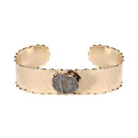 Goudkleurige Bangle Armband met Natuursteen | Biba