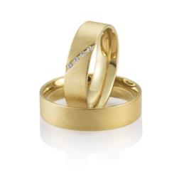 Breuning Gouden Peony Trouwringen Set met Gematteerd Oppervlak en Diamanten