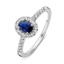 Excellent Jewelry Witgouden Dames Ring met Saffier Kopstuk