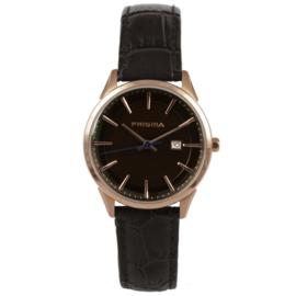 Roségoudkleurig Edelstalen Dames Horloge van Prisma met Bruine Band