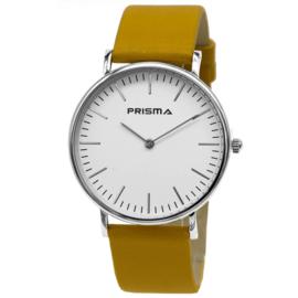 Prisma Verfijnd Zilverkleurige Dames Horloge met Oker Horlogeband