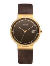 M&M Horloge met Goudkleurige Coating en Bruine Lederen Horlogeband