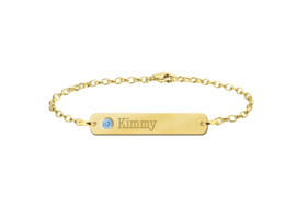 Kimmy Bar Armband van Goud met Naam en Geboortesteen > Names4ever