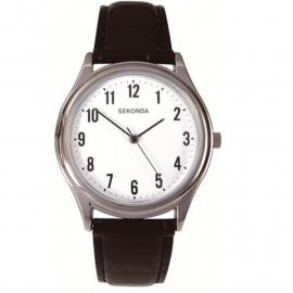 Sekonda Horloge / Zwart leren band SEK.3621