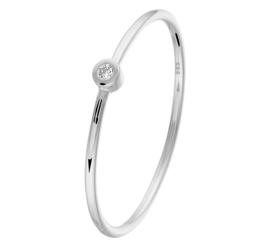 Slanke Witgouden Ring met 0,015crt Diamant