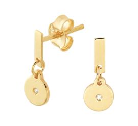 Gouden Oorhangers met Ronde Diamant Hanger